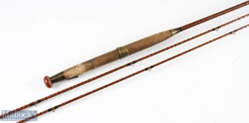 Foster Brothers of Ashbourne Diamond Ribbed fly rod 10ft 2pc plus spare tip, 6ins shorter, cloth