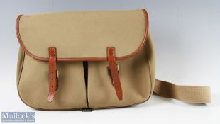 Brady Canvas Fishing Tackle Bag with leather and brass fittings, with 2 front pockets and canvas