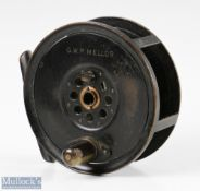 """Moscrop of Manchester patent 4 ½"""" all brass fly reel in black finish, screw adjuster to central"""