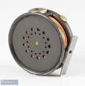 """Hardy Bros England Perfect 3 3/8"""" alloy trout fly reel with agate line guide, rim tensioner,"""