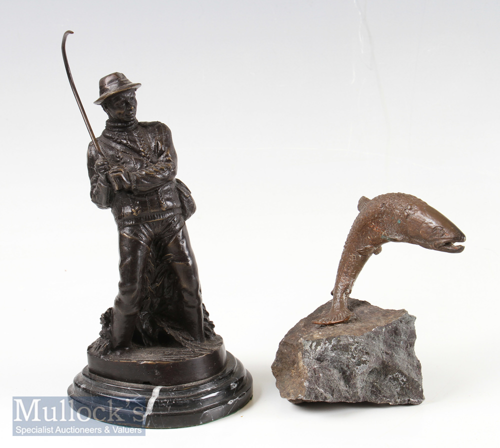 2x Bronze Fishing Sculptures – one of a standing fisherman reeling in a fish with a curved rod,