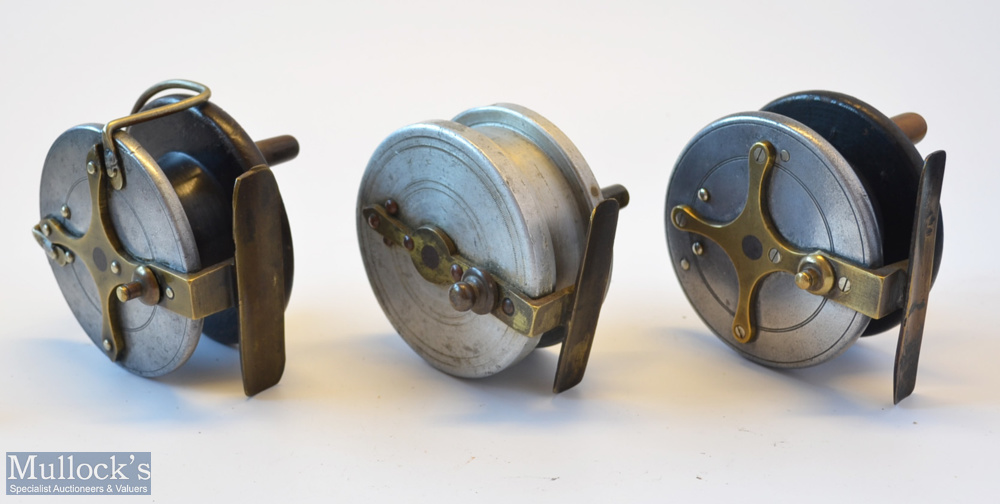 3x various wooden and alloy combination reels - Albert Smith Patent 21873 alloy wrapped mahogany/ - Image 3 of 3