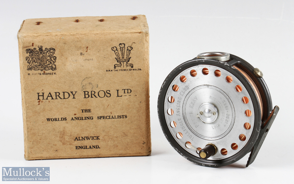 """Hardy Bros England 3 ¾"""" St George alloy fly reel with presentation engraving to faceplate 'Tullibole"""