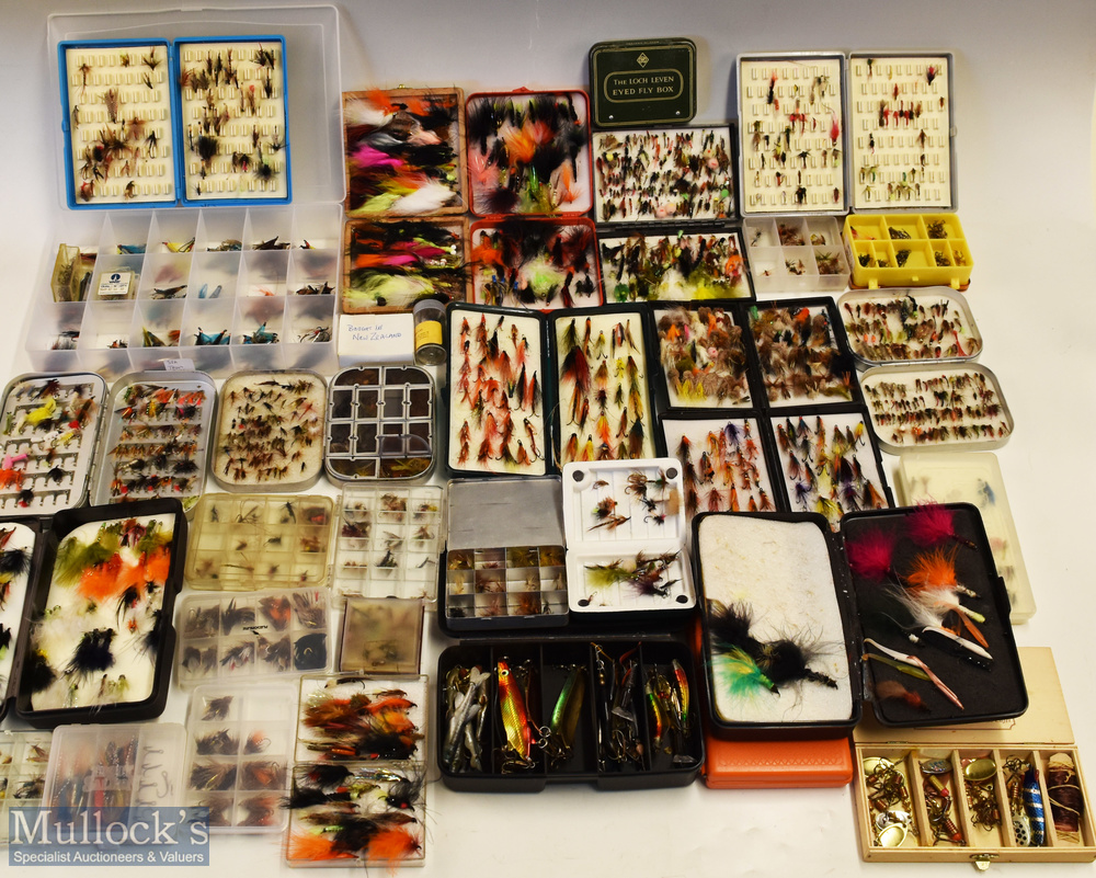 Assorted selection of Fly Cases/Boxes and flies with alloy cases, with dry flies, salmon flies,