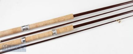 2x Glass ledger rod blanks in 9ft and 9ft 6in lengths with cork handles