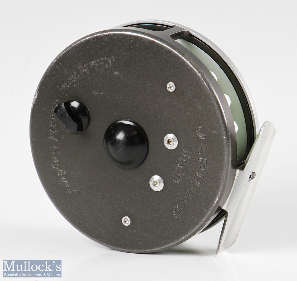 Hardy Bros England Marquis #8/9 alloy trout fly reel with smooth alloy foot, line guide, loaded with - Image 3 of 3