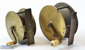"""2x Vic Brass Crank Handle Salmon Fly Reels – to incl 4"""" with folding handle c/w sliding lever"""