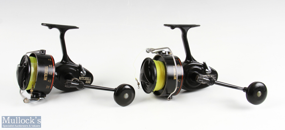 2x Mitchell 486 fixed spool sea reels both with inwards turning handles, on/off check, each with