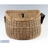"""Wicker Fishing Creel with centre slot to lid with shoulder strap, overall 15""""w x 10.5""""h x 11""""d"""