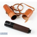 Gray & Co, Inverness Leather Bound Stalking Telescope 3 drawer leather bound telescope numbered No.
