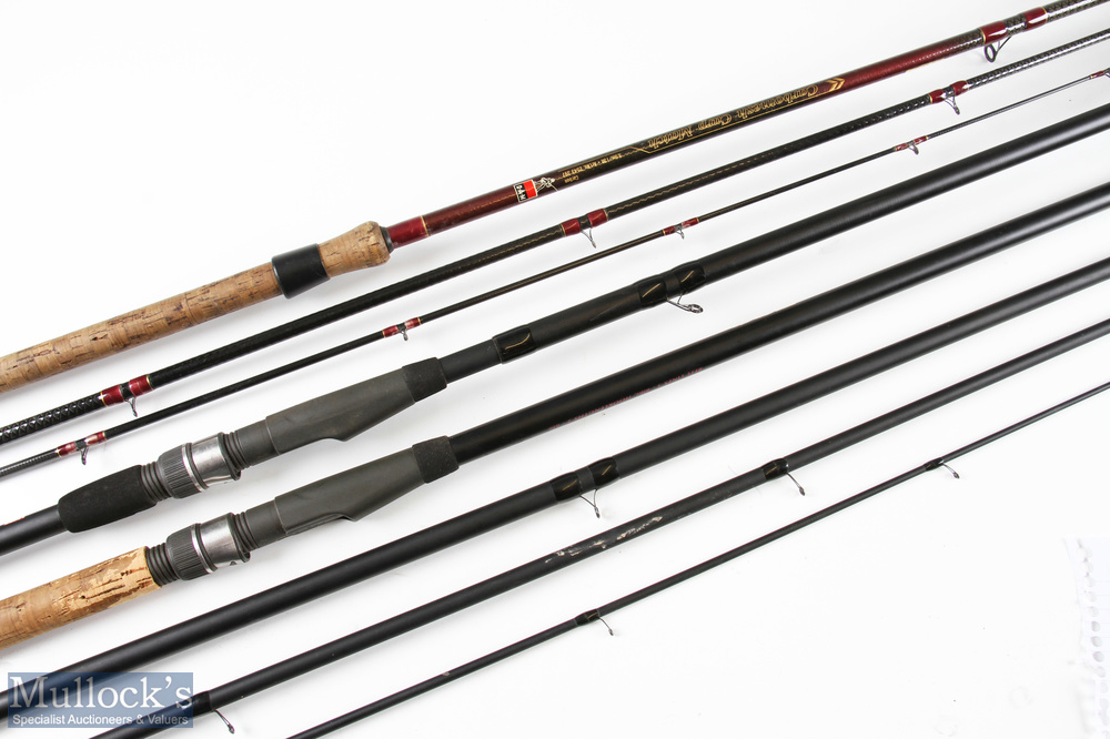 2x various fishing rods including DAM carbon mesh 13ft carp match rod 3pc, tip section 6in short,
