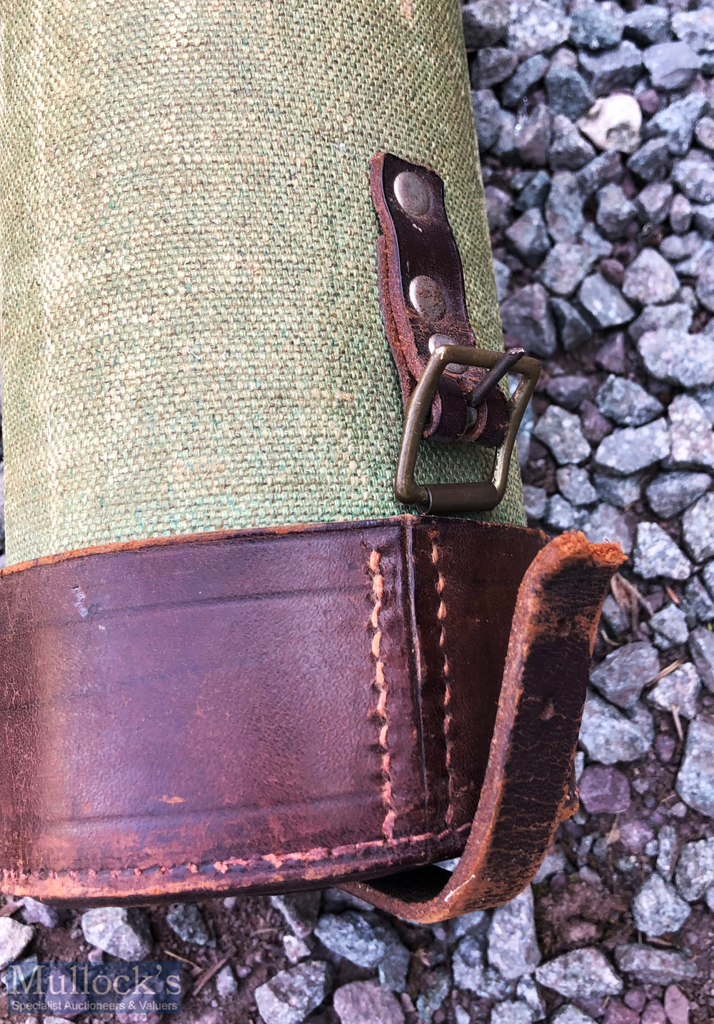 Canvas and leather rod carrying tube 60ins x 3 1/2ins, adjustable leather handle, leather cap and - Image 2 of 2