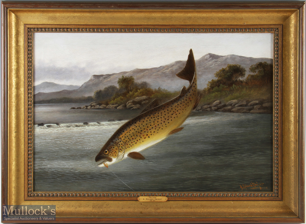 """Knight, A. Roland (1879-1921) oil on canvas titled """"The Leap"""" depicting a Brown Trout caught on"""