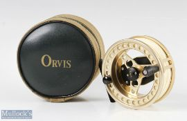 """Fine Orvis Battenkill Large Arbour III 3 ¾"""" fly reel in Champagne finish appears in unused condition"""