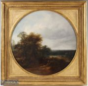 Traies, William (1789-1872) – oil on canvas of river fishing scene with fisherman in the
