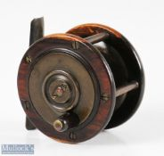 """Perth style 3"""" Brass and rosewood reel five pillar construction, smooth brass foot, ebonite black"""