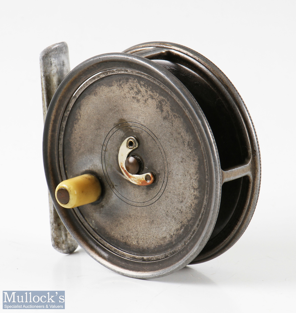 """Hardy Bros England Uniqua 3 1/8"""" trout fly reel constant single check, smooth alloy foot,"""