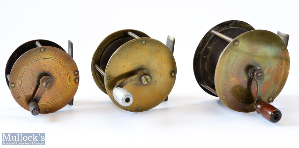 """3x various Brass Crank Wind Reels – 3"""" wide drum with slim curved arm fitted with wooden handle – no"""
