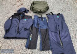 Preston Innovations Drifish XL waterproof jacket with removable hood, a pair of Drifish waterproof