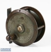 """Lucas STL Safety reel 3 ¼"""" bronze brass reel with constant check, maker's details to face plate,"""