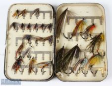 Malloch's Black Japanned Fly Box and Salmon Flies – single swing leaf clip fly tin containing 45