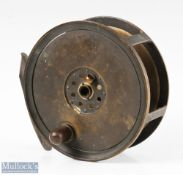 """Rare large Moscrop of Manchester 5 ¼"""" all brass Salmon fly reel with maker's details to rear plate"""