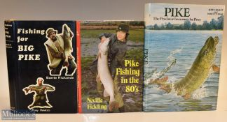 """3x Pike Fishing Books – Richards and Webb """"Fishing for Big Pike"""" 1971 1st edition, Fickling, Neville"""