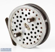 """Hardy Bros England Eureka 3 ½"""" alloy centre pin reel with ribbed brass foot, on/off check to"""