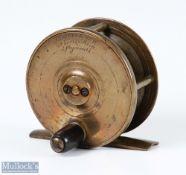 """Jeffrey & Son Maker Plymouth 2 ½"""" copper brass fly reel with good constant check, slight dish to"""