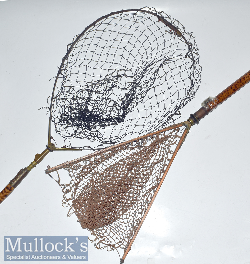 Eaton and Deller marked wood and brass extendable landing net with makers marks to brass butt of