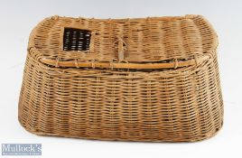 """Wicker Fishing Creel of wide shape with slot to lid with peg clasp and handle to rear, overall 8""""h x"""