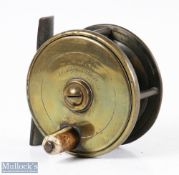 """Alfred & Son 2 ½"""" all brass plate wind fly reel inscribed to the faceplate 'Alfred & Son Makers 20"""