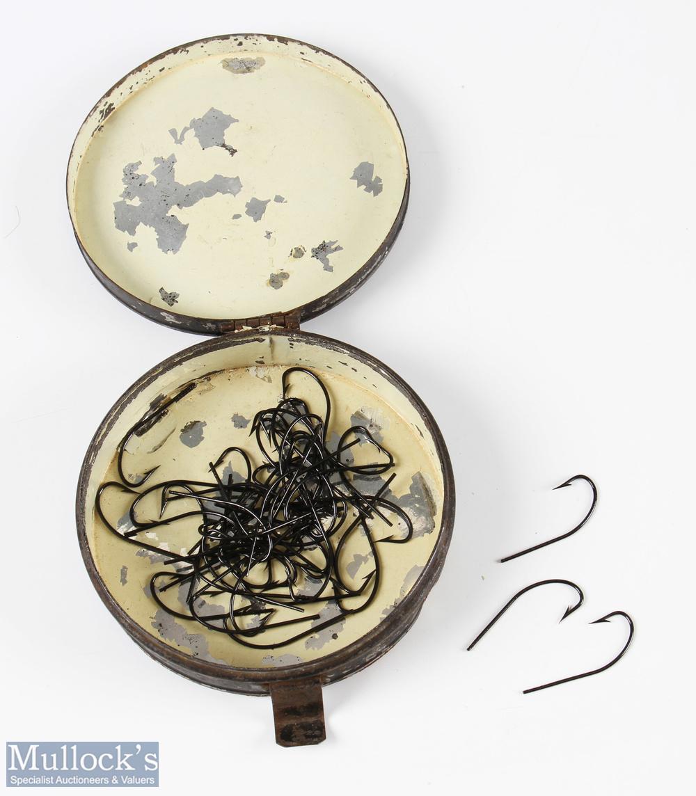 "Victorian ""Blind Eye"" Salmon Hooks for gut eye fly dressing, approx. 48 hooks total, all mint"