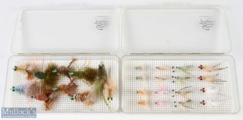 Enrico Puglisi Fishing Flies – 16x shrimp flies and 12 crab flies, housed in 2 makers clear