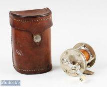 """Fine Meek A Horton MFG Co Bristol No3 multiplier reel in nickel silver 2"""" x 1 ½"""" spool width,"""