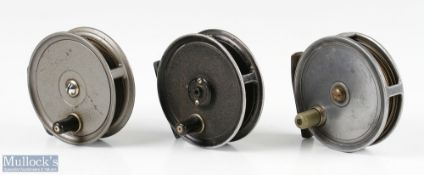 """3x Various alloy trout fly reels to include M.C Thornburn Edinburgh 3 3/8"""" with bent smooth brass"""