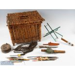 Wicker Fishing Creel and Mixed Accessories – square small creel with lid, one original hinge