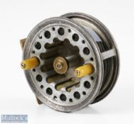 """Rare Dreadnought 'Casting Reel Co Ltd Newport Isle of Wight' 3 ¾"""" alloy casting reel marked 'Pape,"""