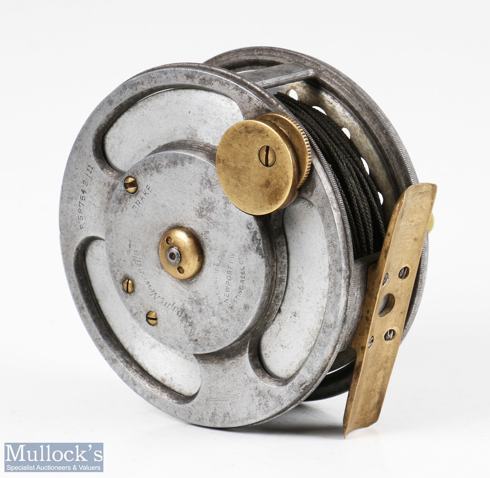 """Rare Dreadnought 'Casting Reel Co Ltd Newport Isle of Wight' 3 ¾"""" alloy casting reel marked 'Pape, - Image 2 of 2"""