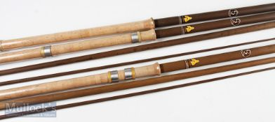 2x Sundridge 12ft and 13ft S.L.V. Competition match rod blanks with cork handles (plus extra Butt
