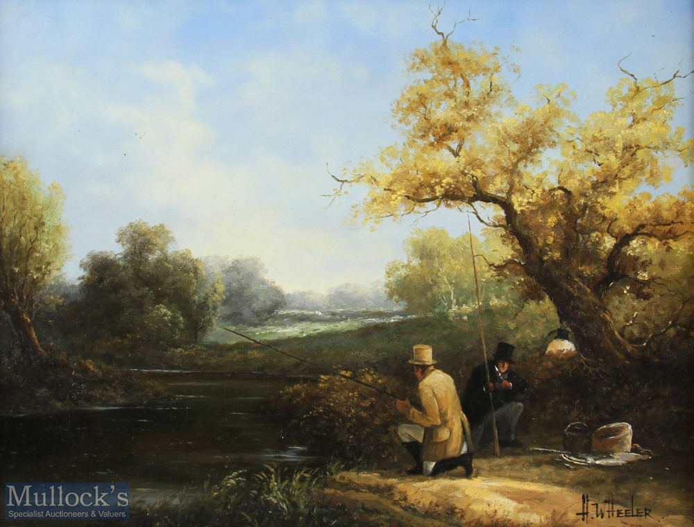 H. Wheeler Signed '19th Century Fishing Scene' Oil painting in decorative frame depicts two - Image 2 of 2