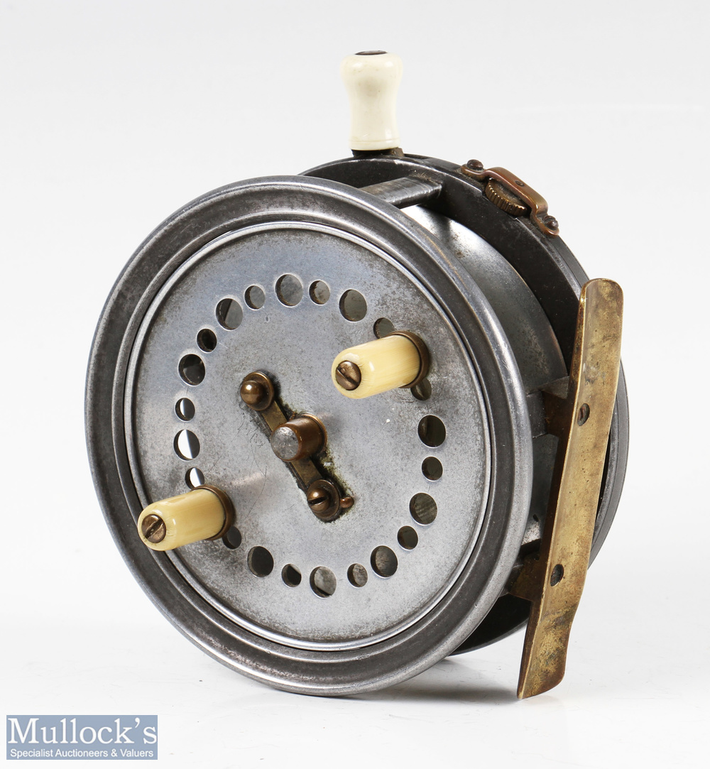 """J.J.S. Walker Bampton The Utility 4"""" alloy casting reel twin handle, smooth brass foot, strapped rim"""