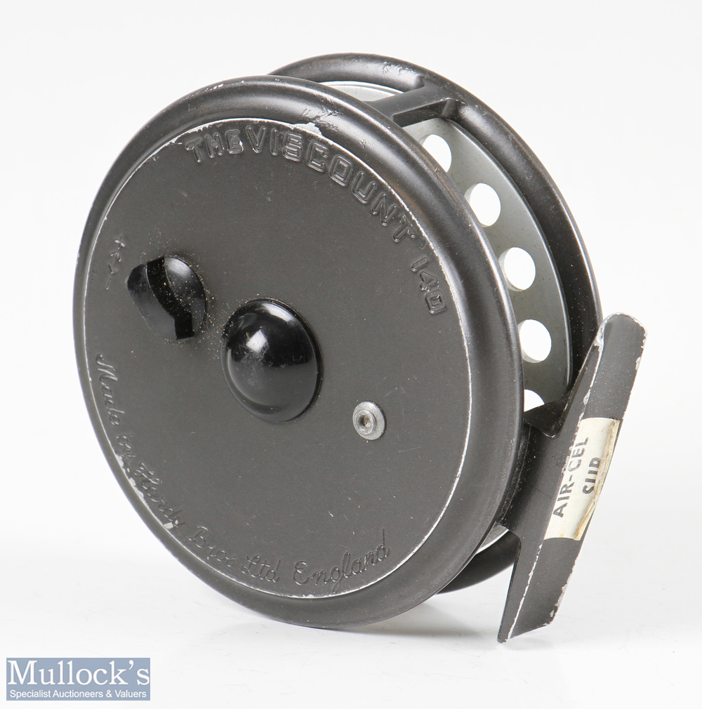 """Hardy Bros England Viscount 140 3 ½"""" alloy fly reel smooth alloy foot, good constant check, light - Image 2 of 2"""