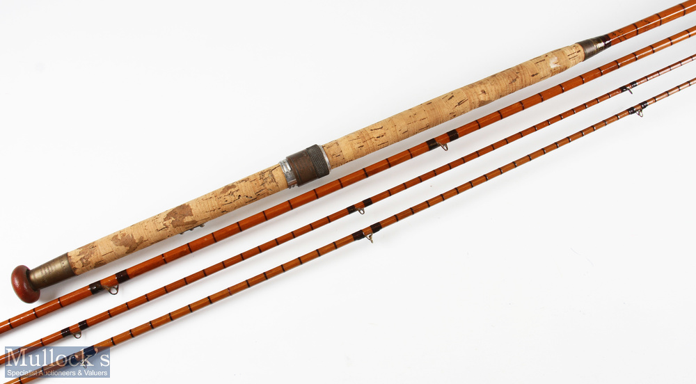 Hardy 'The Wye' split cane salmon fly rod 12ft 6ins 3pc plus spare tip from another Wye, in cloth