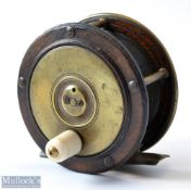 """Early Chas Farlow Maker, 191 The Strand London, Wooden and Brass 3.5"""" fly reel c1870, with smooth"""