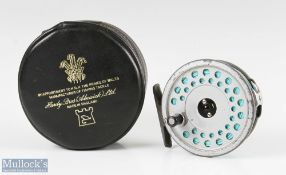"""Hardy Bros England Viscount 140 Mark II 3 3/8"""" alloy fly reel with alloy foot, line guide, surface"""