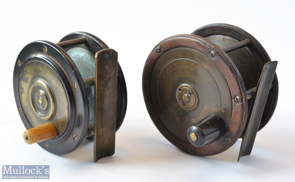 """2x Scottish brass and rosewood salmon reels – 4"""" with domed back plate with half inch rim crack –"""
