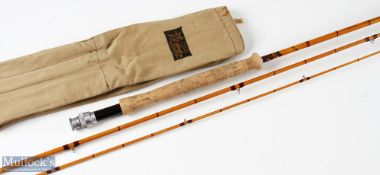 Sharpe's 'The Aberdeen' split cane fly rod 10ft 3pc agate lined butt and tip ring with Acorns, in