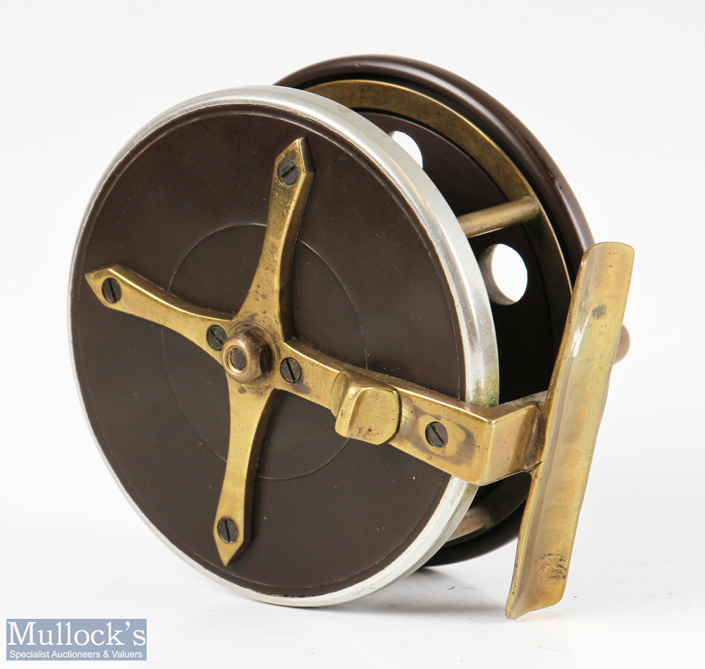 """Slater pattern 3 ½"""" ebonite and brass combination reel with brass star back, nickel silver rim, - Image 2 of 2"""