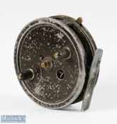 """W Martin James 3 ½"""" centrepin alloy trotting reel with on/off check rim lever, smooth foot,"""